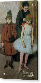 Woman With Two Little Girls Acrylic Print by Edgar Degas