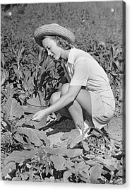Woman Working In Garden Acrylic Print by George Marks