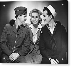 Woman W/two Military Men Acrylic Print by George Marks