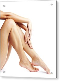 Woman's Legs Isolated On White Background Acrylic Print