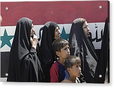 Women And Children Wait In Front Of An Acrylic Print by Everett