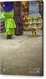 Women And Flamenco Dresses Acrylic Print by Perry Van Munster