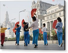 Women Practising Tai Chi With Fans On The Bund Acrylic Print by John Banagan