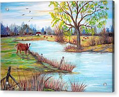 Wonderful Farm Home Acrylic Print by Janna Columbus