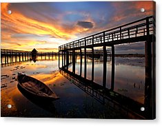 Wood Bridge In Sunset Thailand Acrylic Print by Arthit Somsakul