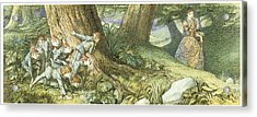 Wood Elves Hiding And Watching A Lady Acrylic Print by Richard Doyle