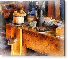 Wood Shop With Wooden Bucket Acrylic Print by Susan Savad