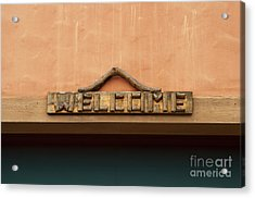 Wood Welcome Sign Acrylic Print by Blink Images