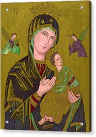 Woodcut Of The Virgin Mary, Titled S Acrylic Print by Everett