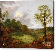 Wooded Landscape With A Cottage - Sheep And A Reclining Shepherd Acrylic Print by Thomas Gainsborough