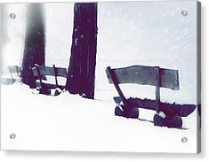 Wooden Benches In Snow Acrylic Print by Joana Kruse
