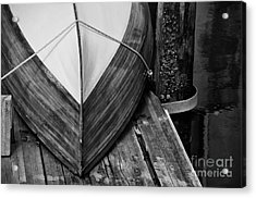 Wooden Boat On The Dock Acrylic Print by Wilma  Birdwell