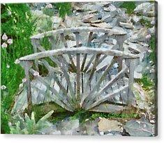 Wooden Bridge On Stone Creek Acrylic Print by Kim Ezra Shienbaum