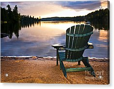 Wooden Chair At Sunset On Beach Acrylic Print by Elena Elisseeva