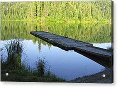 Wooden Dock On Lake Acrylic Print by Anne Mott