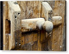 Wooden Door Bolt Detail Acrylic Print by Kantilal Patel