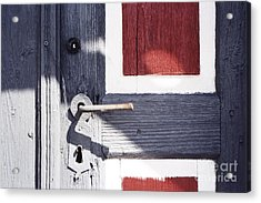 Acrylic Print featuring the photograph Wooden Doors With Handle In Blue by Agnieszka Kubica