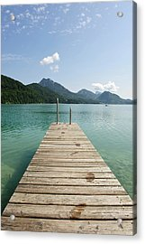 Wooden Jetty Out To Lake Fuschl Acrylic Print by Buero Monaco