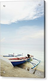 Wooden Outrigger Boat On Shore Acrylic Print by Carlina Teteris