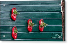 Acrylic Print featuring the digital art Wooden Shoes On Teh Wall by Carol Ailles