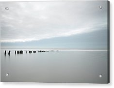 Wooden Stakes In Sea Acrylic Print by Amk