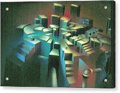 Woodscape 1980 Acrylic Print by Glenn Bautista