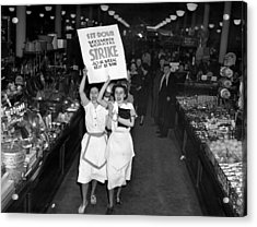 Woolworth Workers Go On Strike In New Acrylic Print by Everett