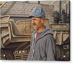 Acrylic Print featuring the painting Worker At U.s.s.mill Station 108 by James Guentner