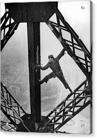 Worker Painting The Eiffel Tower Acrylic Print by Everett