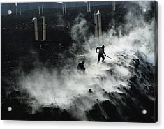 Workers At The Blue Plains Waste Water Acrylic Print by Robert Madden