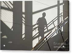 Workers Shadow In A Stairwell Acrylic Print by Andersen Ross