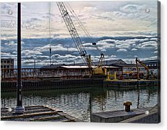 Working With Clouds Acrylic Print by Peter Chilelli