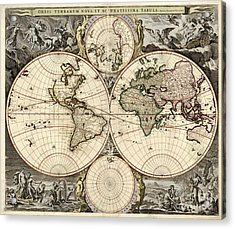 World Map, 1690 Acrylic Print by Photo Researchers