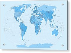 World Map Blues Acrylic Print by Michael Tompsett