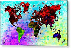 World Map Acrylic Print by The DigArtisT