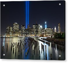 World Trade Center Tribute From The Pier Acrylic Print by Shane Psaltis