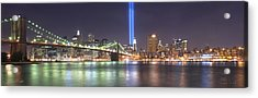 World Trade Center Tribute Lights Acrylic Print by Shane Psaltis