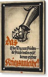 World War I, German Poster Depicting Acrylic Print by Everett