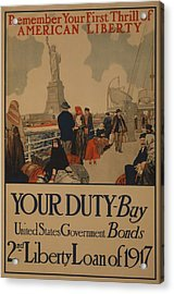 World War I Poster Aimed At Recent Acrylic Print by Everett