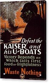 World War I, Poster Showing A Dark Acrylic Print by Everett