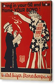 World War I, Poster Showing Liberty Acrylic Print by Everett