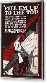World War I, Poster Showing Men Loading Acrylic Print by Everett