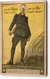 World War I, Poster Shows A Wounded Acrylic Print by Everett