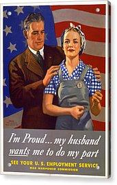 World War II, Poster Showing A Husband Acrylic Print