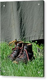 Worn Boots Acrylic Print by Rachel Rodgers
