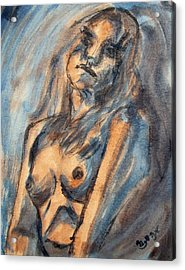 Worried Young Nude Female Teen Leaning And Filled With Angst In Orange And Blue Watercolor Acrylics Acrylic Print by M Zimmerman