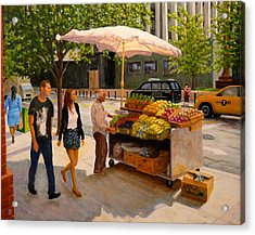 Acrylic Print featuring the painting Worth Street Nyc by Joe Bergholm