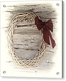 Woven Reed Wreath Acrylic Print by Linda Phelps