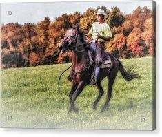 Wrangler And Horse Acrylic Print by Susan Candelario