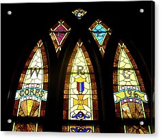 Wrc Stained Glass Window Acrylic Print by Thomas Woolworth